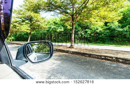 Reflection of sunny autumn road at the car side mirror.