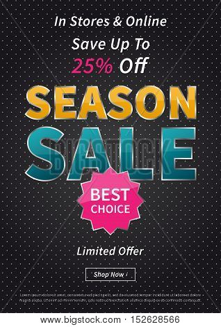 Banner Season Sale vector illustration on black background. Creative banner layout for m-commerce mobile promotions retail sale materials coupons advertising.