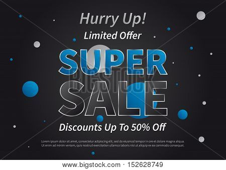 Banner Super Sale horizontal vector illustration on black background. Poster Super Sale creative concept for websites retail stores advertising. Flyer layout Super Sale A4 size ready to print.