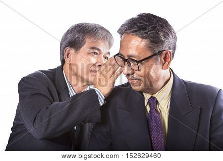 two asian senior business man gossip for business strategy isolated white background