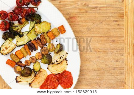 Top Down View Of Grilled Veggies On Plate