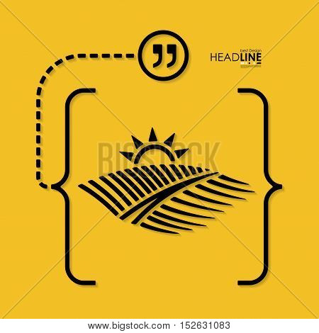 agriculture abstract sign with brackets. Minimalism outline concept