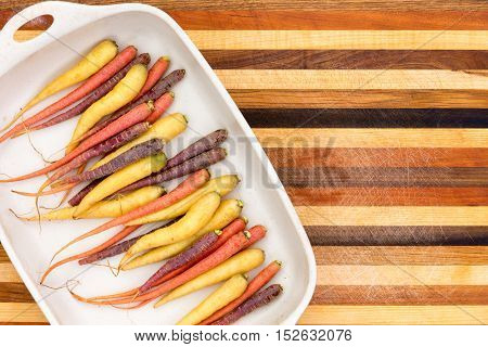 Multicolored Colorful Carrots On A Platter