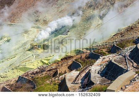 Close Up Of Active Sulphur Vents Of Owakudani, Japan