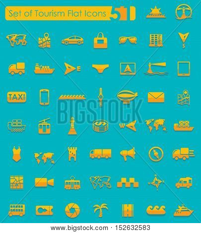 Set of tourism flat icons for Web and Mobile Applications