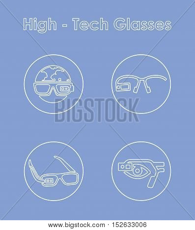 It is a set of high-tech glasses simple web icons