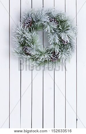 Decorative White Stained Green Christmas Wreath