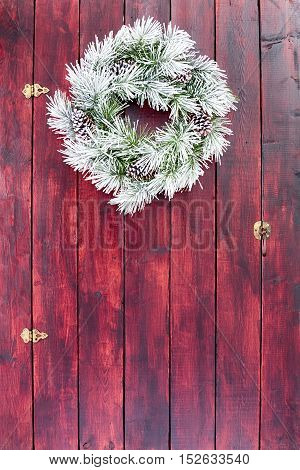 Frosted Evergreen Christmas Or Winter Wreath