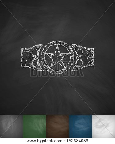 championship belt icon. Hand drawn vector illustration. Chalkboard Design