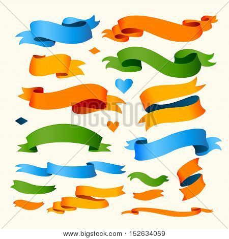 Set of Color Ribbons for Your Text