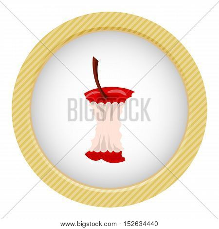 Apple core colorful icon. Vector illustration in cartoon style