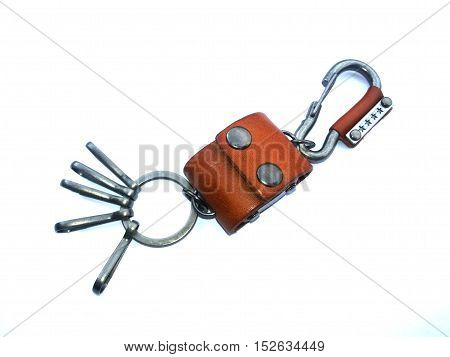 key chain leather on isolated white background