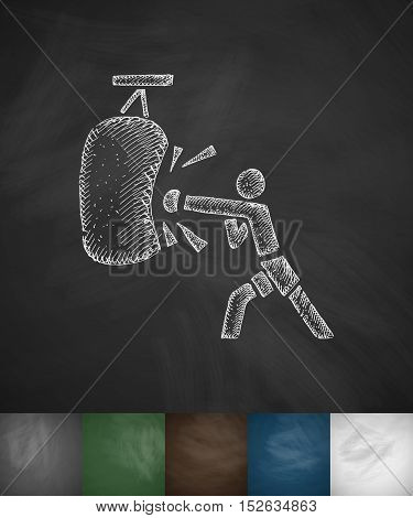 boxer icon. Hand drawn vector illustration. Chalkboard Design