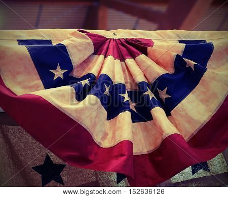 American Flag In The Circular Shape Hanging