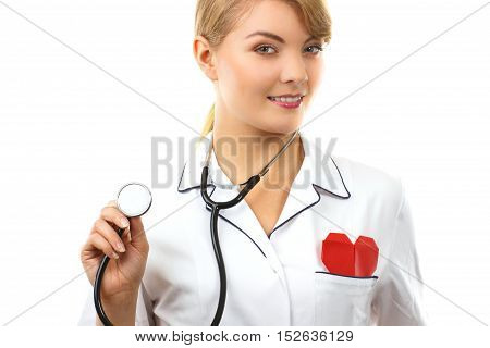 Woman Doctor With Stethoscope And Red Heart, Healthcare Concept