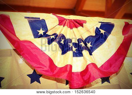 Circular American Flag In Great Shape Rosette Hanging