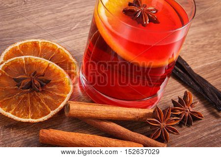 Mulled Wine On Winter Evening With Fresh Fragrant Spices