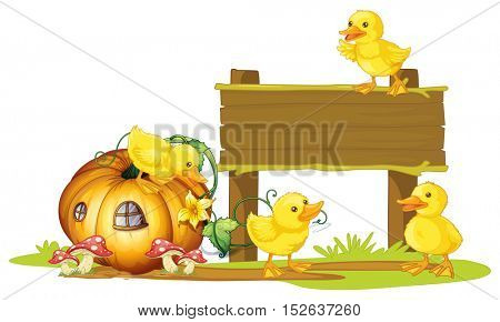 Wooden sign with four ducklings illustration