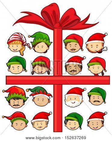 Christmas theme with Santa and elves illustration