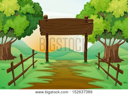 Scene with field and wooden sign illustration