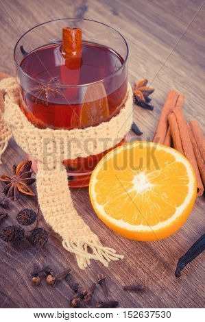 Vintage Photo, Glass Of Mulled Wine Wrapped Scarf With Fresh Fragrant Spices