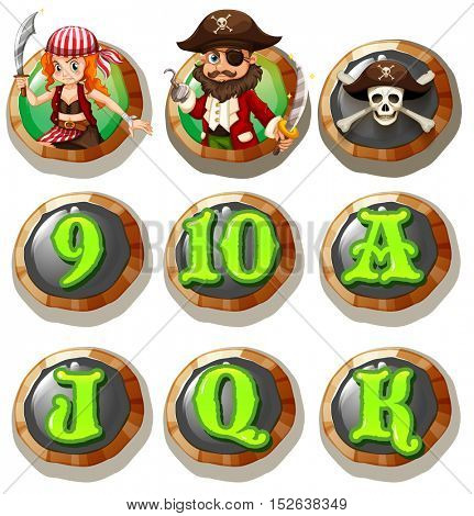 Game characters and numbers on token illustration