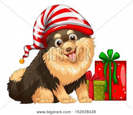 Christmas theme with cute dog and present illustration
