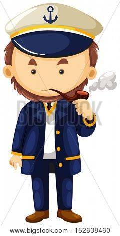 Sea captain with smoking pipe illustration