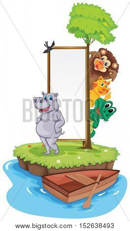 Animals on island with sign