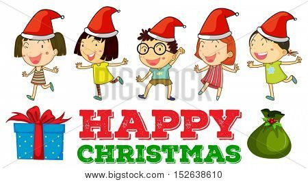 Christmas theme with children in party hats illustration
