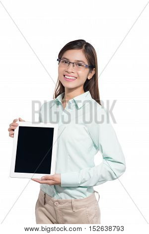 Businesswoman showing blank digital tablet white background