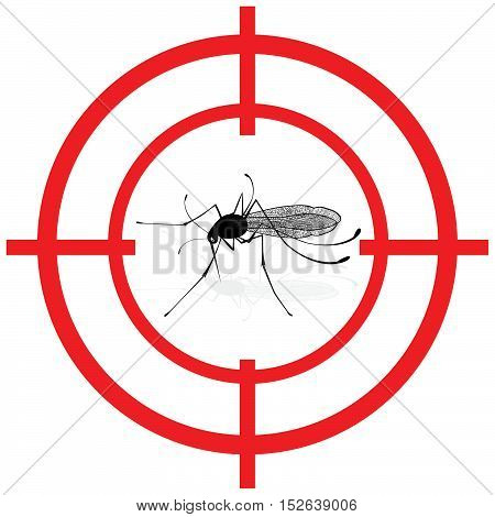 Signaling mosquitoes with mosquito target gnat mira signal vector. Ideal for informational and institutional sanitation and related care.
