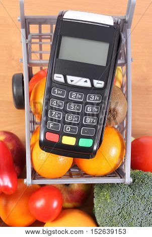Payment Terminal With Fruits And Vegetables, Cashless Paying For Shopping, Finance Concept