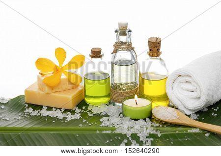 Spa set on banana leaf with salt
