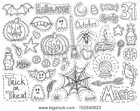 Patch Badges Halloween Set Holiday Doodles Black White