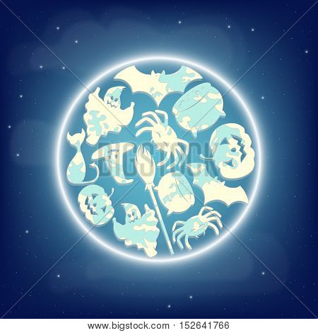 Full eclipse moon with Halloween characters silhouettes in camouflage coloring. Vector illustration.