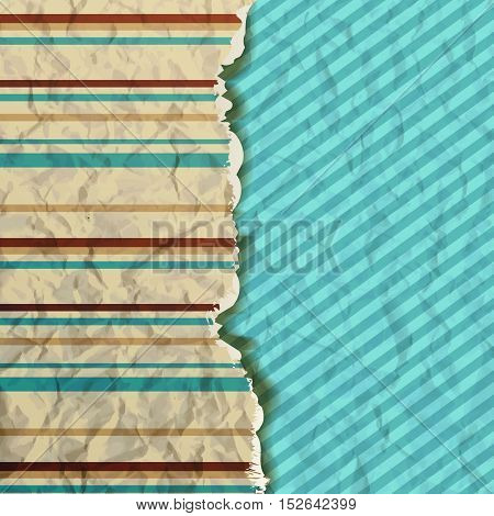 Hipster background. Cover with vintage pattern. torn sheet of paper