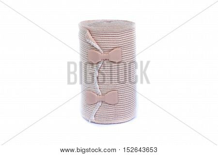 close up Elastic bandage on isolated white background