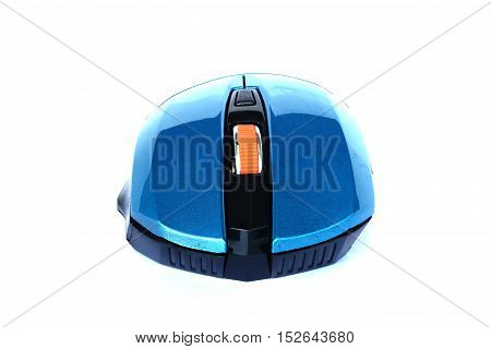 close up blue computer mouse on isolated