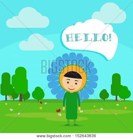 Kid in fancy flower dress with speech bubble in kindergarten. Vector Illustration