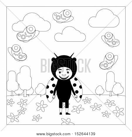 Kid in fancy laduybug insect dress in kindergarten. Coloring page for children. Vector illustration