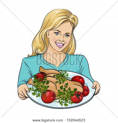 Happy thanksgiving day vector illustration. Isolated Beautiful Woman Holding a Plate with Roast Cristmas turkey. Pop Art.