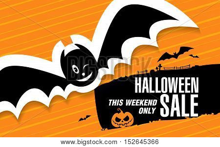Halloween sale template banner design with flying bat. Vector illustration