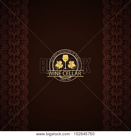Wine cellar decorative card with golden logo and ornamental vertical borders. Vector illustration
