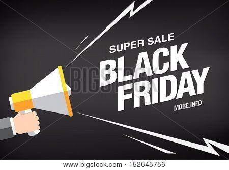 Black friday sale banner template design. Hand holding a megaphone