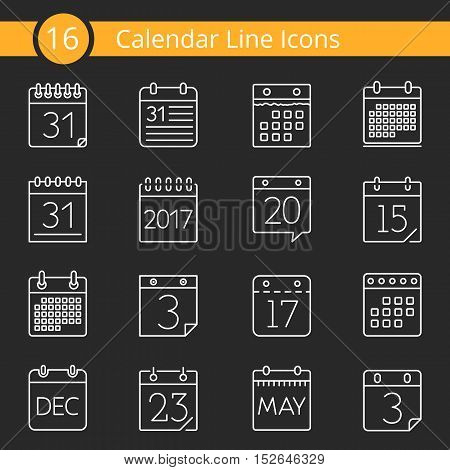Set of 16 calendar line icons, vector eps10 illustration