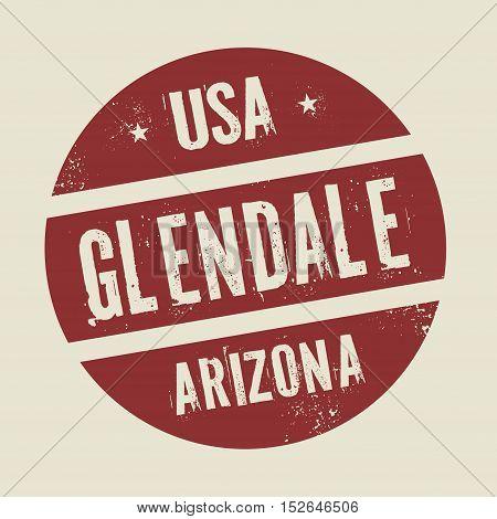 Grunge vintage round stamp with text Glendale Arizona vector illustration