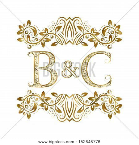 B&C vintage initials logo symbol. Letters B C ampersand surrounded floral ornament. Wedding or business partners initials monogram in royal style.