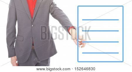 Young business man with blank list on white background