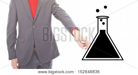 Young businessman with science symbol on white background